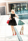 Elegant woman in short black dress posing in the shopping mall Royalty Free Stock Photo