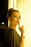 Elegant woman silent gesture Stock Photography