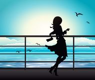 Elegant woman silhouette on a ferry boat Vector Illustration