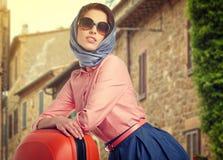 Elegant woman on street of italian city Royalty Free Stock Photos