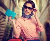Elegant woman on street of italian city Stock Image
