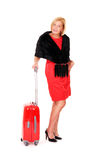Elegant woman with suitcase Royalty Free Stock Photography