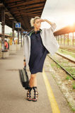 Elegant woman with suitcase posing on the railway station Stock Photography
