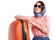 Elegant woman with a suitcase travel Royalty Free Stock Photo