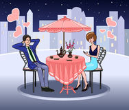 Elegant woman in a summer cafe. Romantic date. Mutual feelings. Couple in love. Valentine's Day. Vector Royalty Free Stock Image