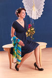 Elegant woman in summer dress royalty free stock photos