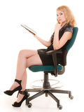 Elegant woman with tablet pc computer touchpad. Royalty Free Stock Images