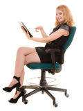 Elegant woman with tablet pc computer touchpad. Stock Photos