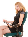 Elegant woman with tablet pc computer touchpad. Royalty Free Stock Photos