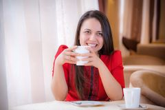 Elegant woman  with a tea mug in cafe Stock Photography