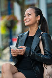 Elegant woman texting on smart phone Stock Photo