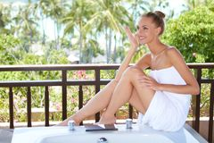 Elegant woman in towel Stock Photos