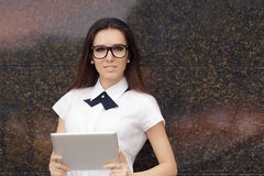 Elegant Woman Wearing Glasses With PC Tablet Stock Photography