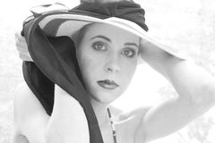 Elegant woman wearing heat black and white Stock Photos