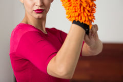 Elegant woman wearing a microfiber glove Stock Photos