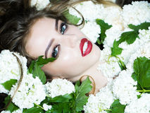 Elegant woman in white blossom. Young woman with red lips on pretty face lying in white blossom tree with green leaves closeup Stock Images