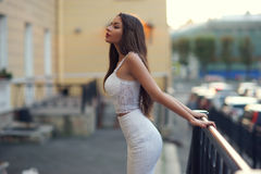 Elegant woman in white dress Royalty Free Stock Photography