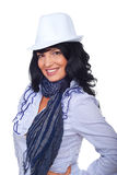 Elegant woman with white hat Stock Photography