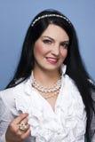 Elegant woman with white pearls Royalty Free Stock Photos