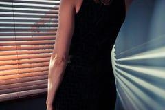 Elegant woman by window Stock Photos