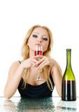 Elegant woman with wine in hands in cafe Stock Image