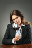 Elegant woman with wineglass Stock Photo