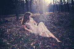 Elegant woman in wood Royalty Free Stock Photo