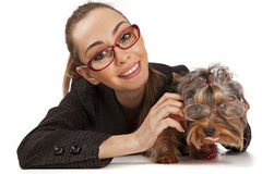 Elegant woman with Yorkshire Terrier Stock Photo
