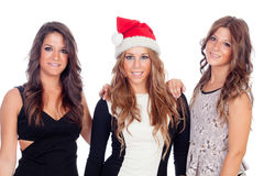 Elegant women celebrating christmas stock photo
