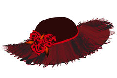 Elegant women hat with netting wavy brim and roses in black and red colors