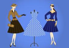 Elegant women in retro style Stock Images