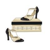 Elegant women's shoes on the box. Stock Photo