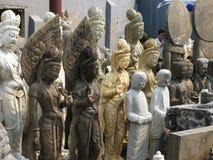 Elegant women stone statues - Beijing Panjiayuan Market Stock Photo