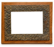 Elegant Wood and Brass Photo Frame. An Old Style Brass and Wooden Photo Frame Stock Images