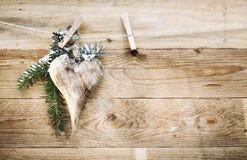 Elegant wooden Valentines heart Stock Photos