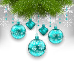 Elegant Xmas Background with Glass Hanging Balls Royalty Free Stock Photo