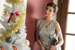 Elegant xmas girl with champagne Royalty Free Stock Image
