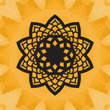 Elegant yantra-like pattern on yellow seamless texture. Hand-drawn mandala flower.  Stock Images