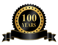 Elegant 100 years anniversary stamp with ribbon. 100 year anniversary seal / stamp with ribbon Royalty Free Stock Photo