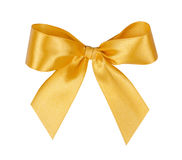 Elegant yellow, golden gift ribbon bow Stock Photography