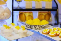 Elegant yellow sweet table on wedding party Royalty Free Stock Images