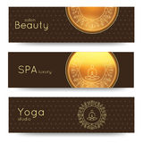 Elegant yoga vector banner. Professional banner templates for yoga studio, yoga website, yoga magazine, publishing, presentation. Royalty Free Stock Image