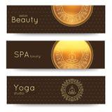 Elegant yoga vector banner. Professional banner templates for yoga studio, yoga website, yoga magazine, publishing, presentation. Royalty Free Stock Image
