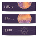 Elegant yoga vector banner. Professional banner templates for yoga studio, yoga website, yoga magazine, publishing, presentation. Stock Image