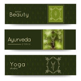 Elegant yoga vector banner. Professional banner templates for yoga studio, yoga website, yoga magazine, publishing, presentation. Stock Images