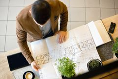 Young architect looking at building floor plans. High angle view. Elegant young architect looking at building floor plans in a modern office. High angle view stock images