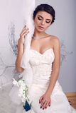 Elegant young bride in wedding dress sitting on swing Stock Photography