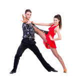 Elegant young couple dancing on white background Stock Image