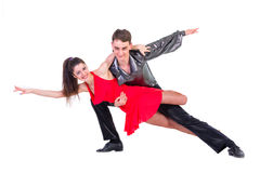 Elegant young couple dancing on white background Royalty Free Stock Photography