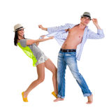 Elegant young couple dancing on white background Stock Photography